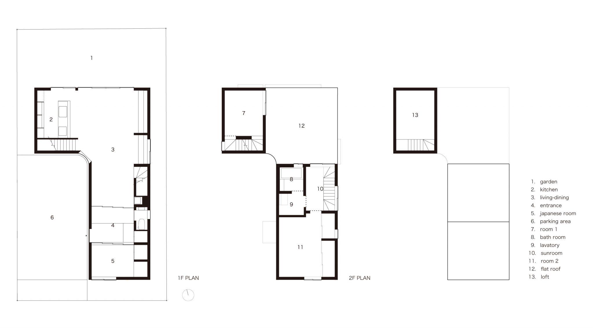 日之出の住宅 Residence in Hinode-plans